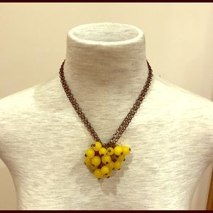 Jewelry - Darkened metal round yellow beads fringe necklace.